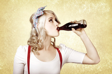 Girl drinking soda drink at vintage sweets shop