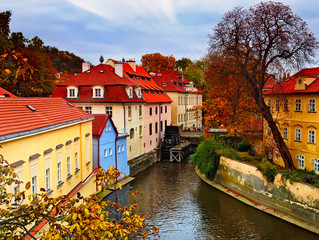 Old city on the Vltava River in Prague