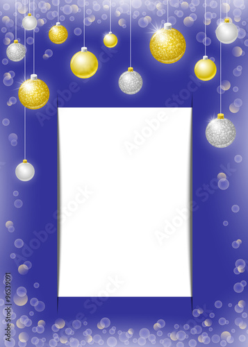 Christmas Vector Vertical Background With Golden And Silver Balls Bokeh Effect Baubles Copy
