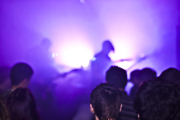Fans watch at the brightly lit stage of a rock concert, Metall live concert, blurry background