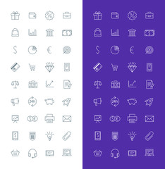 Business Line Art Design Vector Icon Set. Money, Shopping, Bank, Card, Promotion