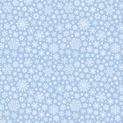 Christmas seamless doodle pattern with snowflakes