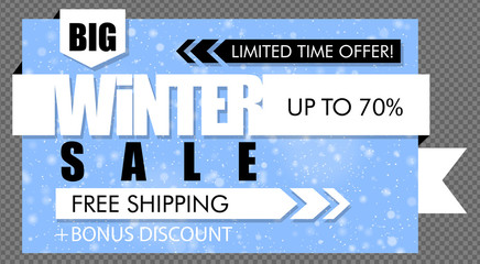 Blue and white big winter sale banner with snowfall background