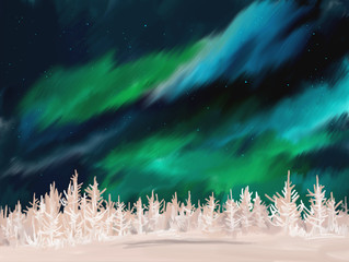 Beautiful Aurora winter landscape with frosted fir trees forest in far away. Digital painting.