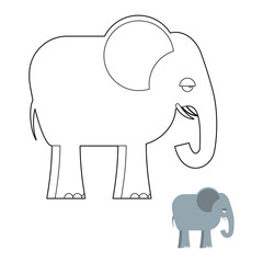 Elephant coloring book. Big Animal of jungle with long trunk. Af