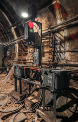 The traffic light in subway tunnel