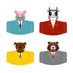 Set Animals businessmen. Farm animals in costume. Pig in busines