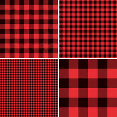 Red Buffalo Check Plaid Patterns. Lumberjack Flannel Shirt Inspired. Square Pixel Gingham. Seamless Tiles. Trendy Hipster Style Backgrounds. Vector File's Pattern Swatches made with Global Colors.