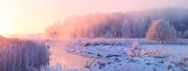 Winter sunrise Wall mural