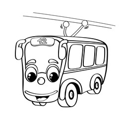 Funny cartoon trolleybus. Black and white illustration for coloring book