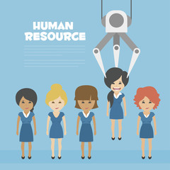 Vector Recruitment concept, human resources concept - Recruitment claw conveyor personal