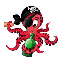 Cartoon pirate octopus with bottle