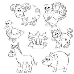 Set of cute cartoon farm animals. Sheep, turkey, duck, cat, donkey, pig and fence. Black and white vector illustration for coloring book