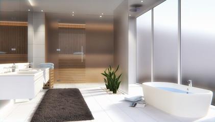 Modernes Badezimmer mit Sauna - 3D render