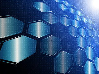vector digital technology concept, abstract background with hexagons
