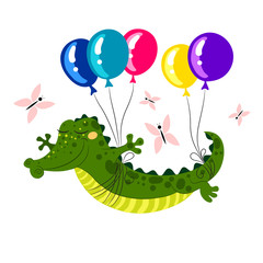 Cute Crocodile flying on balloons. Vector illustration.