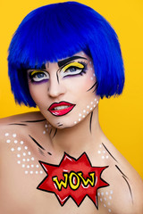 girl with blue hair and make-up pop art