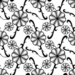 Printed roller blinds Floral black and white Black and white seamless pattern with fantasy flowers