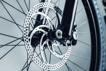 bicycle parts front wheel close up
