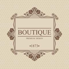 Boutique Monogram logo template with flourishes calligraphic elegant ornament elements, Elegant line art logo, Business sign for Royalty, Cafe, Hotel, Brandname, Heraldic, Jewelry, Wine