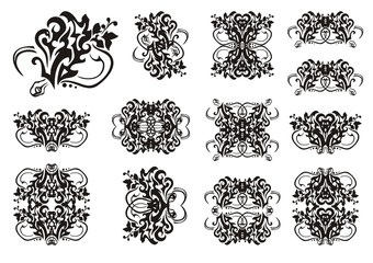 Decorative snake symbols in tribal style. Set of snake symbols and frames. The coiling snake in a grass