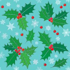 Holly - christmas symbol  seamless pattern