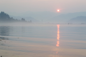 Sunrise over Tillamook Bay, Oregon during the wildfires of Summer 2015.