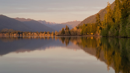 Sunset over Lake Quinault, Olympic National Forest, Washington