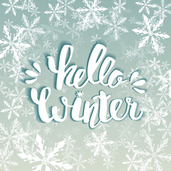 Hello winter text. Vector Brush lettering Hello Winter. Vector card design with custom calligraphy. Winter season cards, greetings for social media.