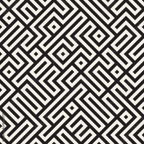Vector Seamless Black And White Irregular Geometric Blocks Pattern