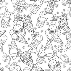 Ice cream  seamless pattern.Hand drawn  vector.
