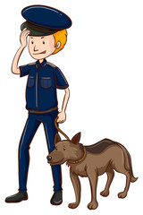 Policeman and police dog