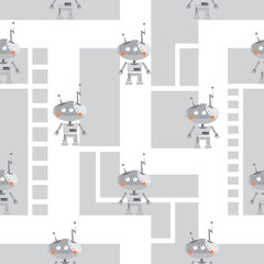 Vector seamless pattern with cartoon robots  on  gray background.