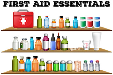 First aid essentials on the shelf