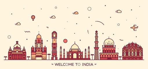 Indian skyline vector illustration linear style Fototapete