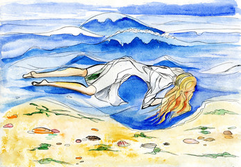 The girl in a white dress lying in water