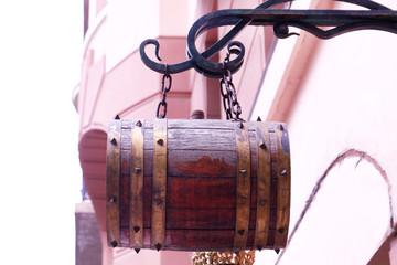 Decorative barrel on street
