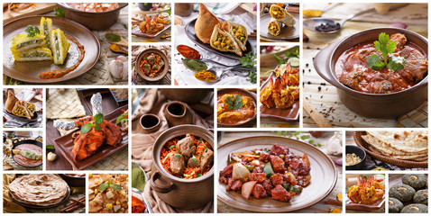 Various indian food buffet, collage