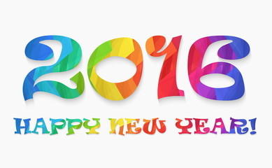 Happy new year 2016 colorful flat design vector illustration concept