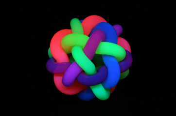 Rubber ball under black light
