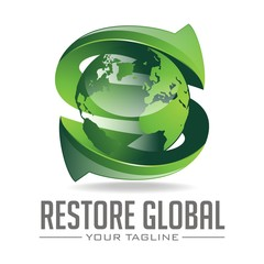 Letter S Restore Data Logo Design With Arrow And Globe