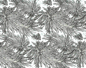 print, seamless pattern  with blue fur-tree branch, snowflakes on a white background, vector illustration