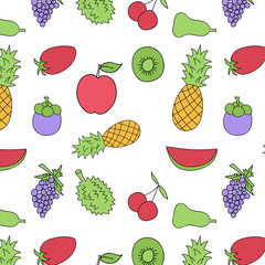 Vector seamless pattern with fruits