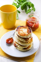 Cottage cheese pancakes, Fritters of cottage cheese. traditional Ukrainian and Russian cuisine.