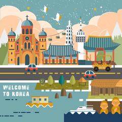 South Korea travel poster
