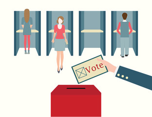 Voting booths with men and women casting their ballots at a poll
