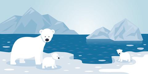 Arctic Polar Bear Iceberg Scene, Mother and baby, Winter, Nature Travel and Wildlife