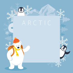 Arctic Polar Bear Backpacker and Penguins Frame, Background, Winter, Nature Travel and Wildlife