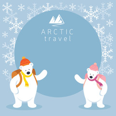 Couple Arctic Polar Bear Backpacker Frame, Background, Winter, Nature Travel and Wildlife