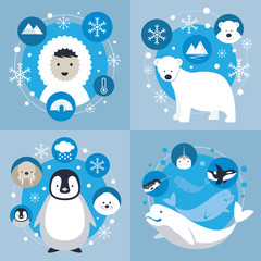 Arctic Characters and Icons Set, Winter, Nature Travel and Wildlife